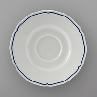 Tuxton SBE-060 TuxTrendz Charleston White 6 inch Scalloped Edge China Saucer with Blue Band - 24/Case