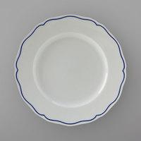 Tuxton SBA-090 TuxTrendz Charleston White 9 inch Scalloped Edge China Plate with Blue Band - 24/Case