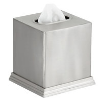Pewter Veil Collection Brushed Stainless Steel Square Tissue Box Cover