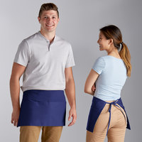 Choice Royal Blue Poly-Cotton Waist Apron with 3 Pockets - 12 inchL x 26 inchW