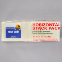Great Lakes 120-Count 5 lb. Pre-sliced Swiss American Cheese - 4/Case