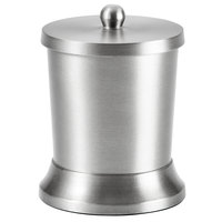 Pewter Veil Collection Brushed Stainless Steel Round Cotton Storage Container with Lid
