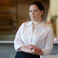 Henry Segal Women's Customizable White 3/4 Sleeve V-Neck Button-Down Dress Shirt - S
