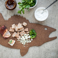 Epicurean 032-WALL0301 Novelty Series 22 1/2 inch x 10 1/2 inch x 1/4 inch Nutmeg Richlite Wood Fiber Walleye Shaped Cutting and Serving Board