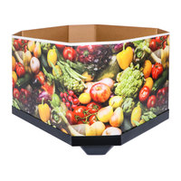 Octagonal Corrugated Cardboard Orchard Bin Wall with Produce Graphic - 47 inch x 40 inch x 28 inch