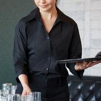 Henry Segal Women's Customizable Black 3/4 Sleeve V-Neck Button-Down Dress Shirt - XS