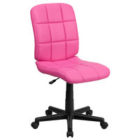 Flash Furniture GO-1691-1-PINK-GG Mid-Back Pink Quilted Vinyl Office Chair / Task Chair