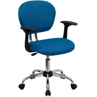 Flash Furniture H-2376-F-TUR-ARMS-GG Mid-Back Turquoise Mesh Office Chair with Nylon Arms and Chrome Base