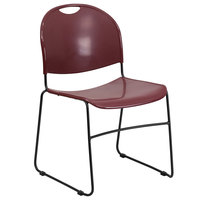 Flash Furniture RUT-188-BY-GG Hercules Series Burgundy Ultra-Compact Stack Chair with Black Frame