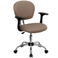 Flash Furniture H-2376-F-COF-ARMS-GG Mid-Back Coffee Mesh Office Chair with Nylon Arms and Chrome Base