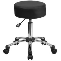 Flash Furniture BT-191-1-GG Black Leather / Upholstery Ergonomic Medical Stool with Chrome Base