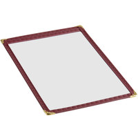 6 3/8 inch x 9 3/8 inch Single Pocket Menu Cover with Burgundy Edging