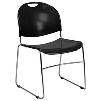 Flash Furniture RUT-188-BK-CHR-GG Hercules Series Black Ultra-Compact Stack Chair with Chrome Frame