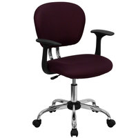 Flash Furniture H-2376-F-BY-ARMS-GG Mid-Back Burgundy Mesh Office Chair with Nylon Arms and Chrome Base