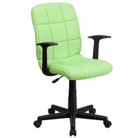 Flash Furniture GO-1691-1-GREEN-A-GG Mid-Back Green Quilted Vinyl Office Chair / Task Chair with Arms