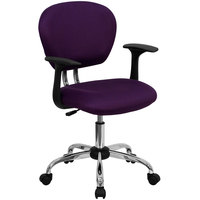 Flash Furniture H-2376-F-PUR-ARMS-GG Mid-Back Purple Mesh Office Chair with Nylon Arms and Chrome Base