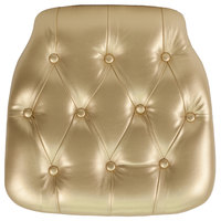 Flash Furniture SZ-TUFT-GOLD-GG Gold Hard Vinyl Tufted Chiavari Chair Cushion - 1 1/2 inch Thick