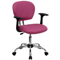 Flash Furniture H-2376-F-PINK-ARMS-GG Mid-Back Pink Mesh Office Chair with Nylon Arms and Chrome Base