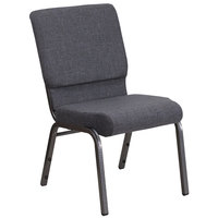 Flash Furniture FD-CH02185-SV-DKGY-GG Hercules Series Dark Gray Stacking Church Chair with Silver Vein Frame
