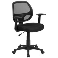 Flash Furniture LF-W-118A-BK-GG Mid-Back Black Mesh Office Chair with T-Arms