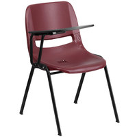 Flash Furniture RUT-EO1-BY-RTAB-GG Burgundy Ergonomic Shell Chair with Right Handed Flip-Up Tablet Arm