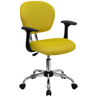 Flash Furniture H-2376-F-YEL-ARMS-GG Mid-Back Yellow Mesh Office Chair with Nylon Arms and Chrome Base