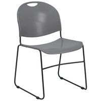 Flash Furniture RUT-188-GY-GG Hercules Series Gray Ultra-Compact Stack Chair with Black Frame