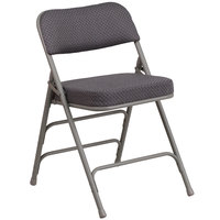 Flash Furniture AW-MC320AF-GRY-GG Hercules Series Premium Curved Triple Braced & Double Hinged Gray Fabric Metal Folding Chair