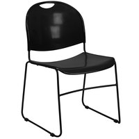 Flash Furniture RUT-188-BK-GG Hercules Series Black Ultra-Compact Stack Chair with Black Frame