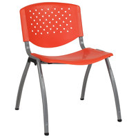 Flash Furniture RUT-F01A-OR-GG Hercules Series Orange Plastic Stack Chair with Titanium Frame