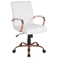 Flash Furniture GO-2286M-WH-RSGLD-GG Mid-Back White Leather Swivel Office Chair with Rose Gold Base and Arms