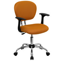 Flash Furniture H-2376-F-ORG-ARMS-GG Mid-Back Orange Mesh Office Chair with Nylon Arms and Chrome Base