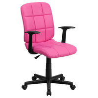 Flash Furniture GO-1691-1-PINK-A-GG Mid-Back Pink Quilted Vinyl Office Chair / Task Chair with Arms