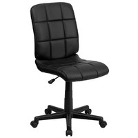 Flash Furniture GO-1691-1-BK-GG Mid-Back Black Quilted Vinyl Office Chair / Task Chair