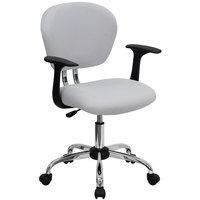 Flash Furniture H-2376-F-WHT-ARMS-GG Mid-Back White Mesh Office Chair with Nylon Arms and Chrome Base
