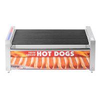 APW Wyott HRS-50SBW 35 inch Hot Dog Roller Grill with Slanted Tru-Turn Rollers and Bun Warmer - 120V