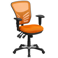 Flash Furniture HL-0001-OR-GG Mid-Back Orange Mesh Office Chair with Triple Paddle Control and Infinite-Locking Back Angle