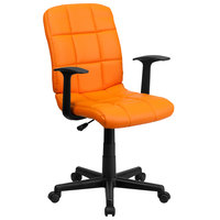 Flash Furniture GO-1691-1-ORG-A-GG Mid-Back Orange Quilted Vinyl Office Chair / Task Chair with Arms