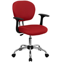 Flash Furniture H-2376-F-RED-ARMS-GG Mid-Back Red Mesh Office Chair with Nylon Arms and Chrome Base