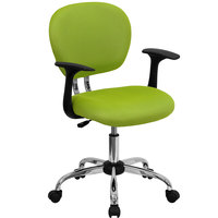 Flash Furniture H-2376-F-GN-ARMS-GG Mid-Back Apple Green Mesh Office Chair with Nylon Arms and Chrome Base