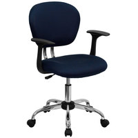 Flash Furniture H-2376-F-NAVY-ARMS-GG Mid-Back Navy Mesh Office Chair with Nylon Arms and Chrome Base