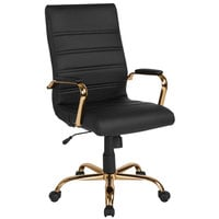 Flash Furniture GO-2286H-BK-GLD-GG High-Back Black Leather Swivel Office Chair with Gold Base and Arms