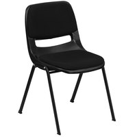 Flash Furniture RUT-EO1-01-PAD-GG Hercules Series Black Ergonomic Shell Stack Chair with Padded Seat and Back