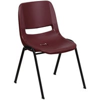 Flash Furniture RUT-EO1-BY-GG Hercules Series Burgundy Ergonomic Shell Stack Chair