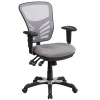 Flash Furniture HL-0001-GY-GG Mid-Back Gray Mesh Office Chair with Triple Paddle Control and Infinite-Locking Back Angle