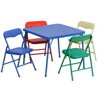 Flash Furniture JB-9-KID-GG 24 inch x 24 inch x 20 1/4 inch Kids Folding Table Set with 4 Assorted Color Chairs