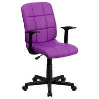 Flash Furniture GO-1691-1-PUR-A-GG Mid-Back Purple Quilted Vinyl Office Chair / Task Chair with Arms