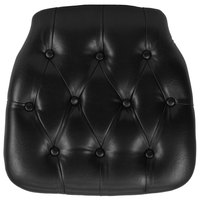 Flash Furniture SZ-TUFT-BLACK-GG Black Hard Vinyl Tufted Chiavari Chair Cushion - 1 1/2 inch Thick
