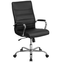 Flash Furniture GO-2286H-BK-GG High-Back Black Leather Swivel Office Chair with Chrome Base and Arms