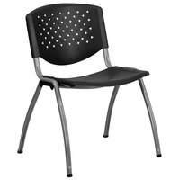 Flash Furniture RUT-F01A-BK-GG Hercules Series Black Plastic Stack Chair with Titanium Frame